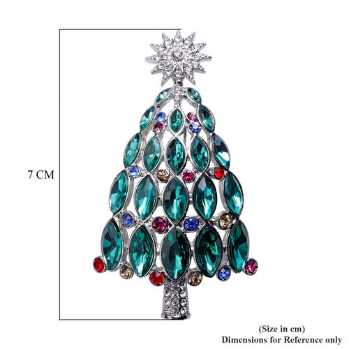 Simulated Emerald and Multi Colour Austrian Crystal Christmas Tree Brooch Or Pendant in Silver Tone