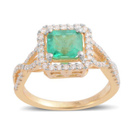 ILIANA 1.39 Ct AAAA Emerald and Diamond Halo Ring in 18K Gold 4.06 Grams SI GH