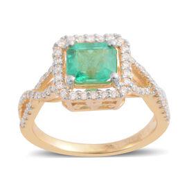ILIANA 1.39 Ct AAAA Emerald and Diamond Halo Ring in 18K Gold 4.06 Grams SI GH