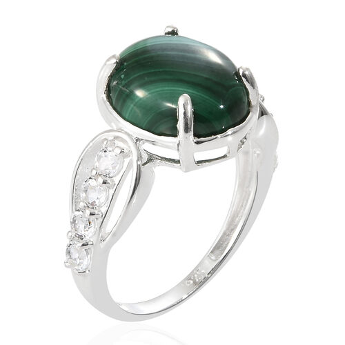 Malachite (Ovl 12x10), White Topaz Ring in Sterling Silver 6.750 Ct.