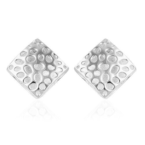 RACHEL GALLEY Sterling Silver Memento Diamond Stud Earrings (with Push Back), Silver wt 5.07 Gms.
