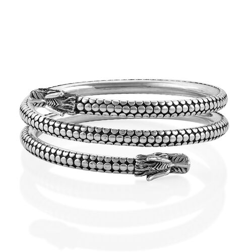 Royal Bali Collection Sterling Silver Dragon Head Bangle (Size 8.75), Silver wt 59.70 Gms.