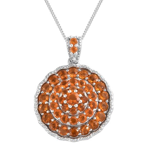 2.75 Ct Jalisco Fire Opal and Zircon Pendant cluster With Chain in Silver