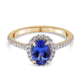 ILIANA 18K Yellow Gold AAA Tanzanite and Diamond (SI/G-H) Ring 1.28 Ct.