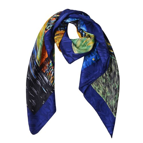 100% Mulberry Silk Blue, Black and Multi Colour The Cafe Terrace on the Place du Forum Printed Scarf (Size 86x86 Cm) (Weight 35 Gms)