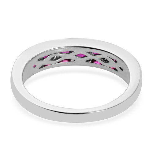 RHAPSODY 950 Platinum AAAA Burmese Ruby Half Eternity Band Ring  1.00 Ct, Platinum wt 5.35 Gms
