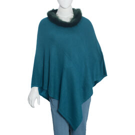 100% Cashmere Wool Teal Pashmina Poncho (Size 70x70 Cm)