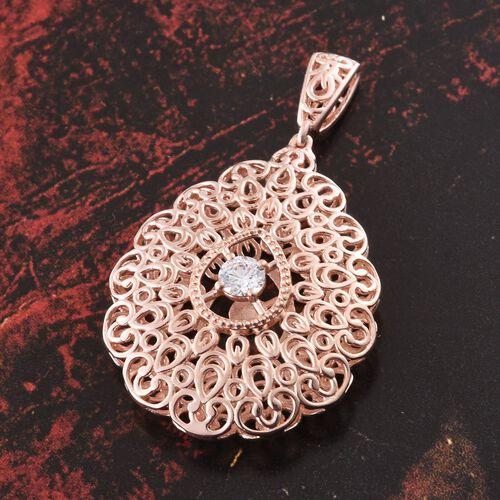 Designer Inspired J Francis - Rose Gold Overlay Sterling Silver (Rnd) Pendant Made with SWAROVSKI ZIRCONIA