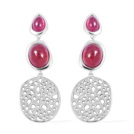 RACHEL GALLEY African Ruby (Ovl) Dangle Earrings (with Push Back) in Rhodium Overlay Sterling Silver 17.000 Ct, Silver wt 13.00 Gms.