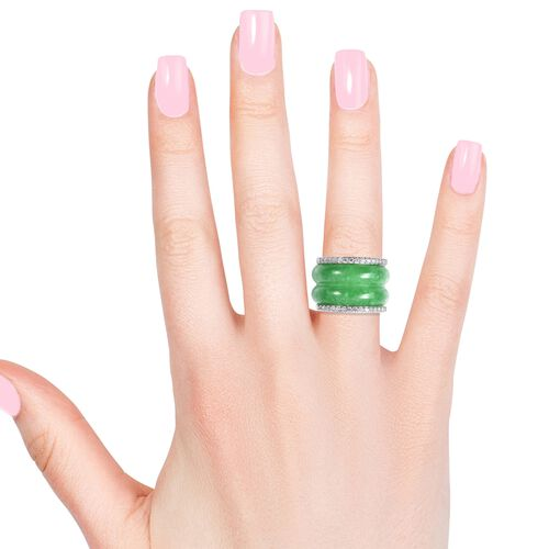 Green Jade and Natural White Cambodian Zircon Ring in Rhodium Overlay Sterling Silver 53.50 Ct.