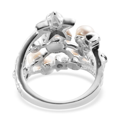 GP Freshwater Pearl, Natural Cambodian Zircon and Blue Sapphire Ring in Rhodium Overlay Sterling Silver