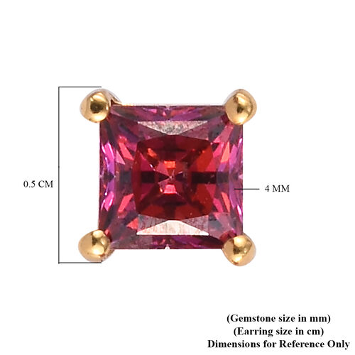 J Francis 14K Gold Overlay Sterling Silver Stud Earrings (with Push Back) Made with Red SWAROVSKI ZIRCONIA 0.78 Ct.