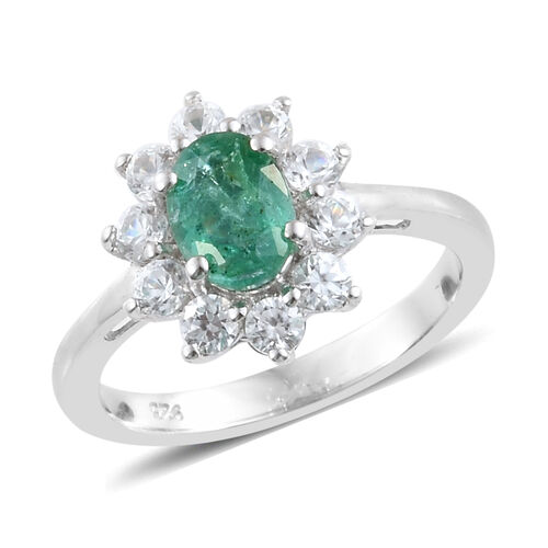 1.50 Carat Zambian Emerald and Cambodian Zircon Halo Ring in Platinum Plated Sterling Silver