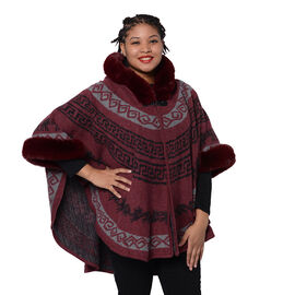 Half Round Shape Multi-Patterned Blanket Wrap with Faux Fur Collar (One size, L: 75cm) - Burgundy