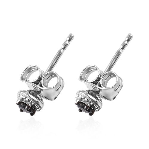Black Diamond Solitaire Stud Earrings in Platinum Overlay Sterling Silver