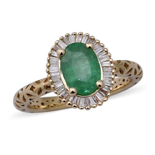 9K Yellow Gold Kagem Zambian Emerald and White Diamond Ring 1.42 Ct.