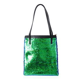Green Colour Sequins Adorned Handbag (Size 36x31cm)