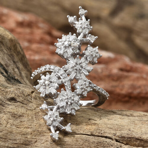 Designer Inspired- Diamond (Bgt) Floral Ring in Platinum Overlay Sterling Silver 0.80 Ct.