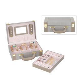 2 Layer - Portable Woven Pattern Jewellery Box with Mirror & Clasp Lock (Can Store Rings, Bracelets,