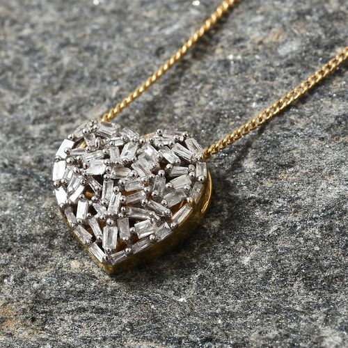 GP Diamond (Bgt), Kanchanaburi Blue Sapphire Heart Pendant with Chain (Size 20) in 14K Gold Overlay Sterling Silver 0.330 Ct.