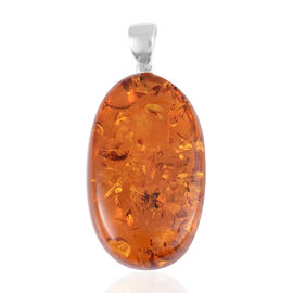 Baltic Amber Pendant in Rhodium Overlay Sterling Silver.