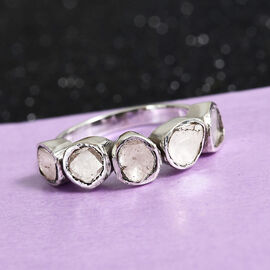 0.50 Ct Polki Diamond 5 Stone Ring in Platinum Plated Sterling Silver