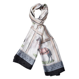 Designer Inspired- Ivory, Grey and Multi Colour Horse Pattern Scarf (Size 90x180 Cm)