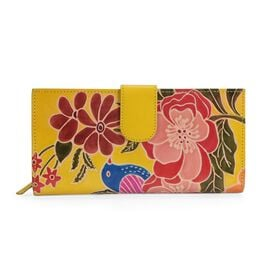 100% Genuine Leather RFID Blocker Hand Painted Bird and Flower Wallet (Size 22.75x3x11.5 Cm) - Lemon