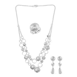Designer Inspired - 3 Piece Set - Sterling Silver Necklace (Size 18), Ring and Earrings (with Push B