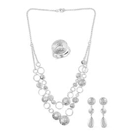 3 Pcs Set Cocktail Ring Drop Earring with Statement Necklace in Silver 18 Inch