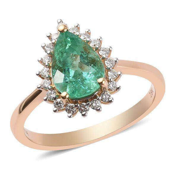 ILIANA 2.20 Ct AAA Boyaca Colombian Emerald and Diamond Halo Ring in 18K Gold SI GH