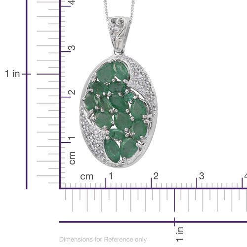 Kagem Zambian Emerald (Ovl), Natural Cambodian Zircon Pendant With Chain in Platinum Overlay Sterling Silver 4.000 Ct.
