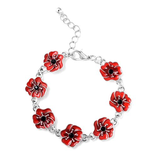 TJC Poppy Design Red and Black Poppy Flower Bracelet in Silver Tone Size 7 with 1 Inch Extender