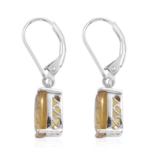 Rare Golden Honey Apatite (Cush) Lever Back Earrings in Platinum Overlay Sterling Silver 6.000 Ct.