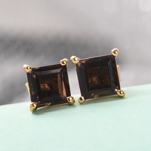 Smoky Quartz Earrings (with Push Back) in 14K Gold Overlay Sterling Silver 1.57 Ct.