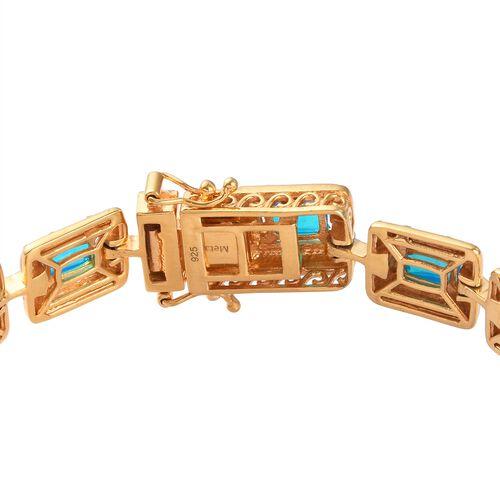 Miami Blue Welo Opal Enamelled Bracelet (Size 7.5) in 14K Gold Overlay Sterling Silver 5.00 Ct, Silver wt. 19.00 Gms