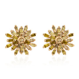 Treated Yellow Diamond (Rnd and Bgt) Snow Flake Earrings (with Push Back) in 14K Gold Overlay Sterli