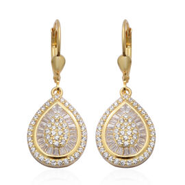 ELANZA AAA Simulated Diamond Lever Back Earrings in Yellow Gold Overlay Sterling Silver
