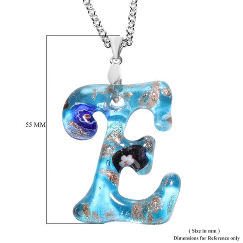 Blue Murano Glass E-Initial Pendant with Chain (Size 24) in Rhodium Overlay Sterling Silver and Stainless Steel
