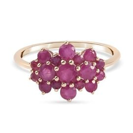 9K Yellow Gold AA Burmese Ruby Cluster Ring 1.65 Ct.