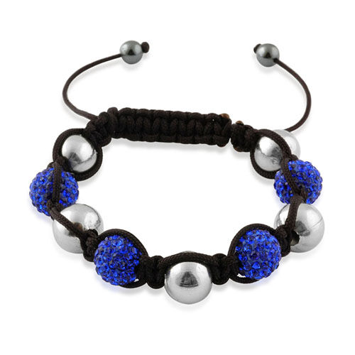 Friendship Blue Austrian Crystal and Silvertone Beads Bracelet (Adjustable)
