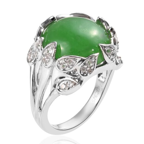 GP Green Jade (Rnd 14 mm), Natural Cambodian Zircon and Blue Sapphire Ring in Platinum Overlay Sterling Silver 11.50 Ct, Silver wt 5.81 Gms