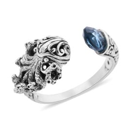 Royal Bali Collection - London Blue Topaz Octopus Ring in Sterling Silver 1.30 Ct, Silver wt 5.00 Gm
