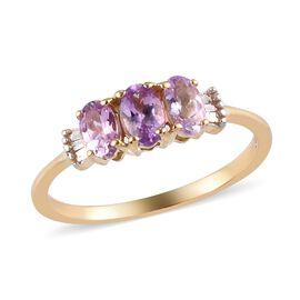 14K Yellow Gold AA Pink Tanzanite and White Diamond Ring