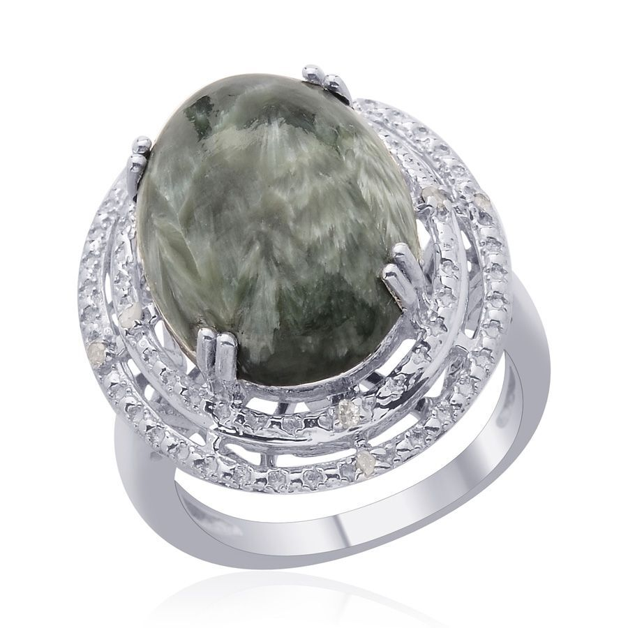 Siberia Platinum: Siberian Seraphinite (Ovl 8.00 Ct), Diamond Ring In