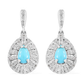 3.25 Ct Sleeping Beauty Turquoise and Cambodian Zircon Halo Earrings in Sterling Silver 5.54 Grams