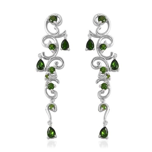 LucyQ Russian Diopside (Pear) Earrings in Rhodium Overlay Sterling Silver 2.010 Ct, Silver wt 6.76 Gms.