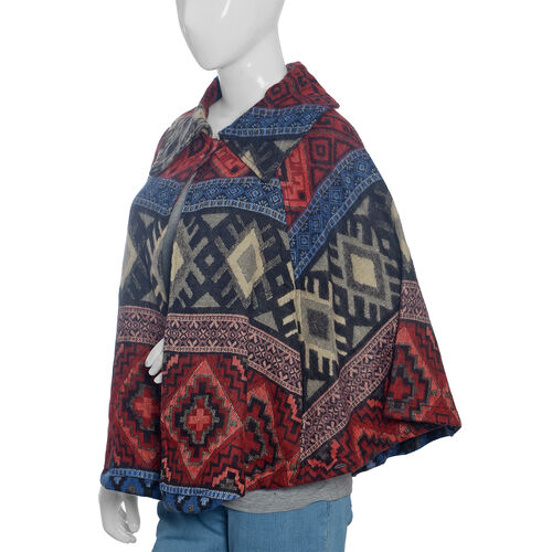 Multi Colour Geometrical Woven Pattern Jacket (Size 115x65 Cm)