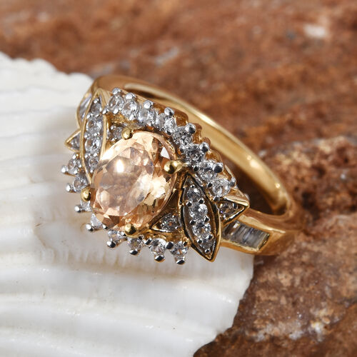 Extremely Rare One Time Deal- AAA Imperial Garnet (Ovl), Natural Cambodian Zircon Ring in 14K Gold Overlay Sterling Silver 2.000 Ct.