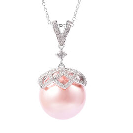 Hallitois Asinina Pink Pearl (Very Rare Size Rnd 18) and Natural Cambodian Zircon Pendant with Chain